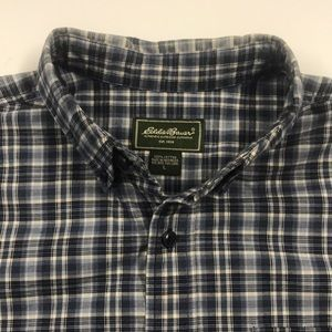 EDDIE BAUER Mens Large Blue Cotton Oxford Shirt